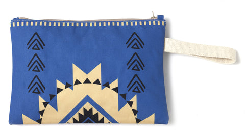 Blue & Yellow summer clutch bag