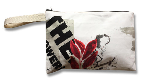 Summer creative design on cotton clutch bag. Tablet sleeve.