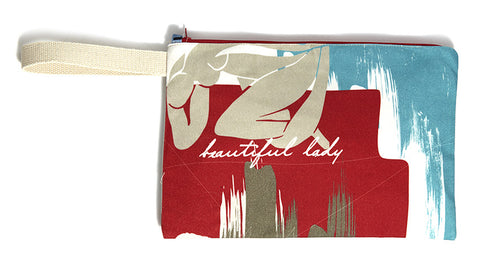 Red bold summer clutch bag with nude drawing