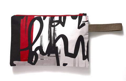 Funky creative clutch bag. Fits tablet or Ipad. Khaki, red graffiti design on cotton bag.