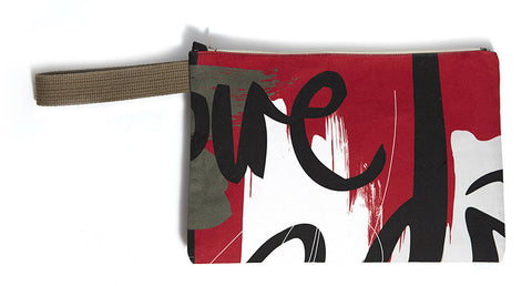 Cool red clutch bag with abstract typography