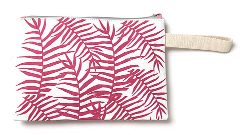 Floral pink tropical summer clutch