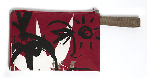 Daring red clutch bag with abstract free-hand paint strokes.