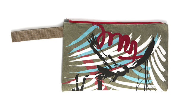Khaki clutch with TRUE bold paint strokes
