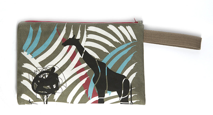 Khaki clutch with bold paint strokes