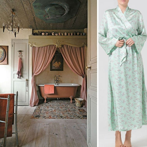 silk dressing gown Alice & Astrid and interior