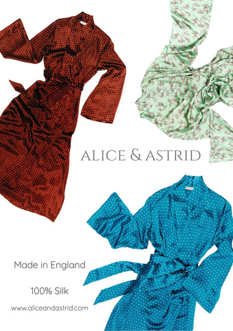 luxury silk dressing gown for her by Alice & Astrid