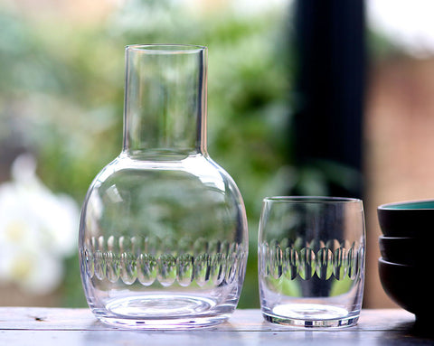 crystal carafe and glass set
