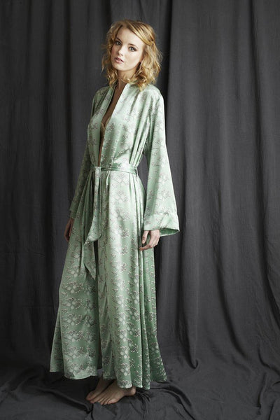 Silk dressing gown, luxury nightwear by Alice & Astrid made in England