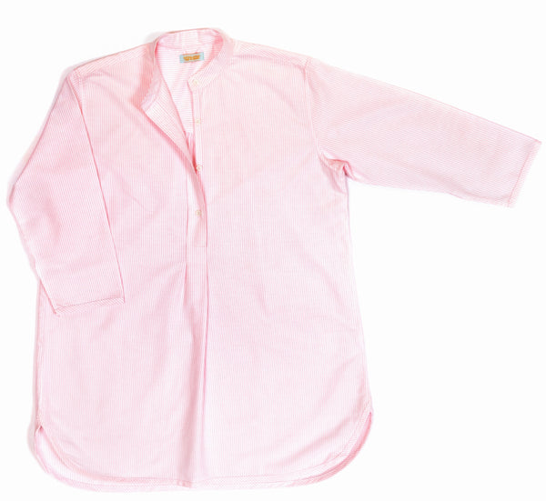 Nightshirt in pure cotton, Oxford stripe, pink, classic design by Alice & Astrid