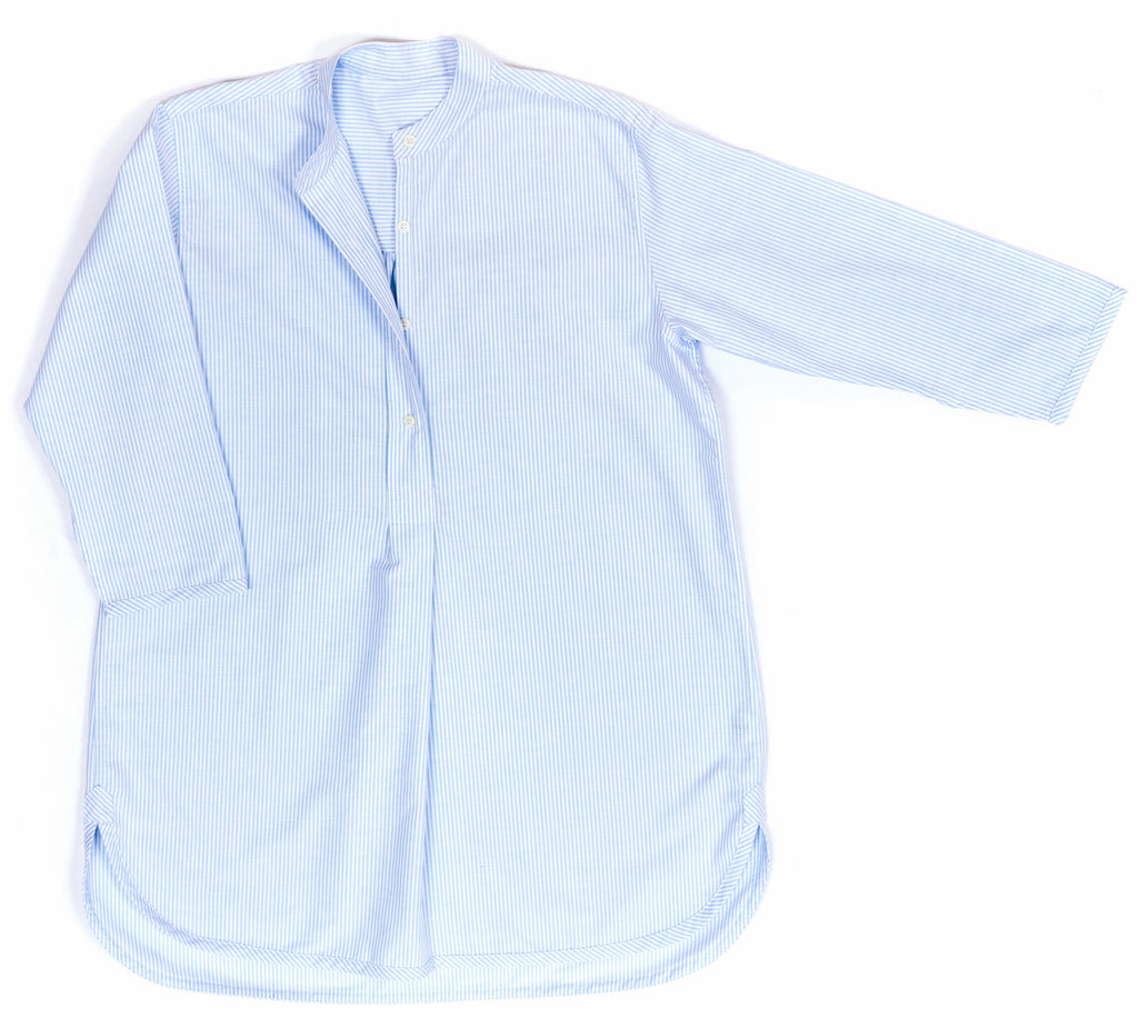 Nightshirt, cotton, Oxford blue stripe, classic design by Alice & Astrid made in England