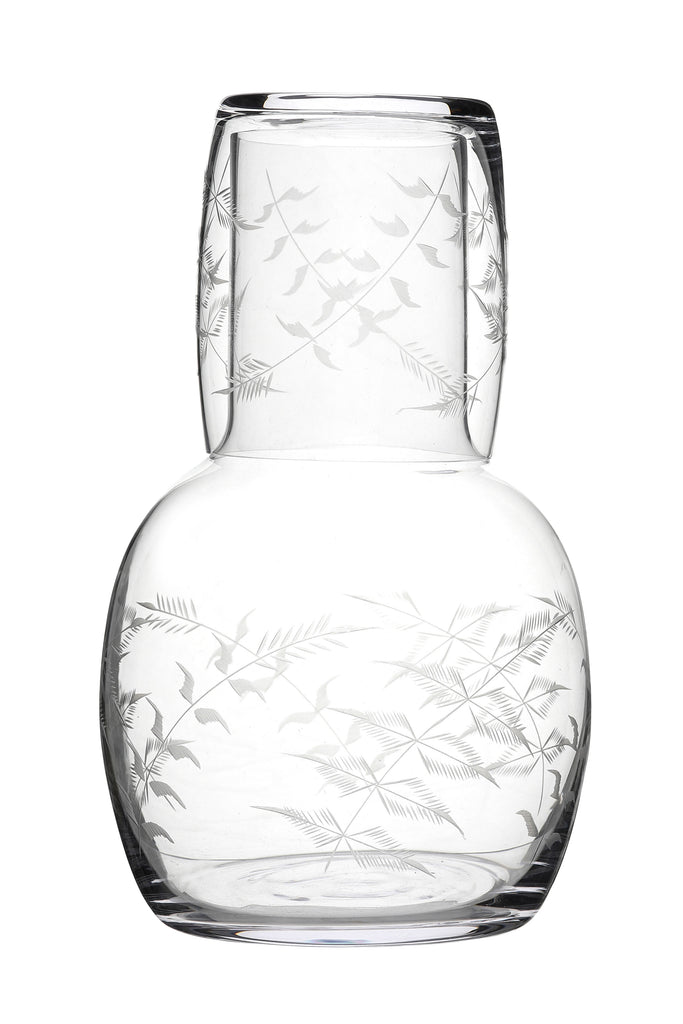 Fern engraved carafe and glass crystal glass set