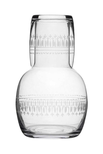 Ovals engraved crystal carafe and glass set