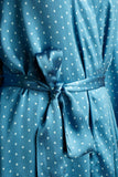silk polk dot blue detail