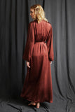 Full length silk dressing gown