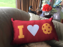 I Heart Pickleball Pillow - Classic Red