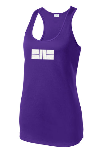 Glitter Pickleball Court - Womens Performance Racerback Tank