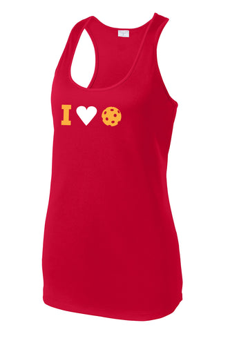 I Heart Pickleball - Womens Performance Racerback Tank