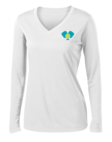 Dinkers & Bangers United™ Womens Longsleeve Performance Pickleball Tee - Front View