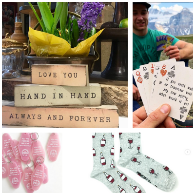 gifts under $20 conversation cards, Friday sock co socks, key tags, cedar mountain word art