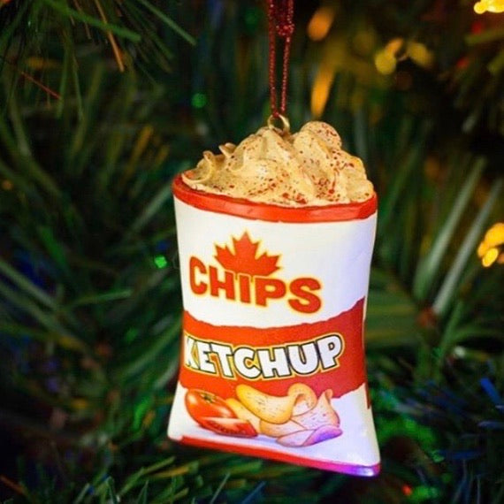 Resin christmas ornament shaped like a bag of Ketchup chips. A very Canadian delicacy.