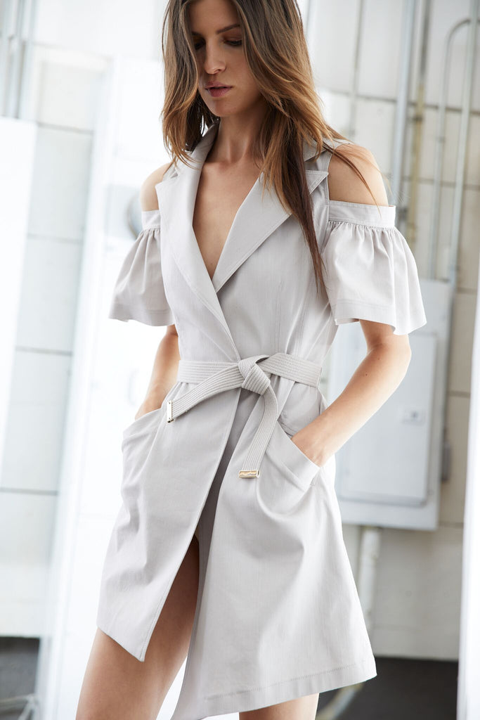Cold Shoulder Trench Dress