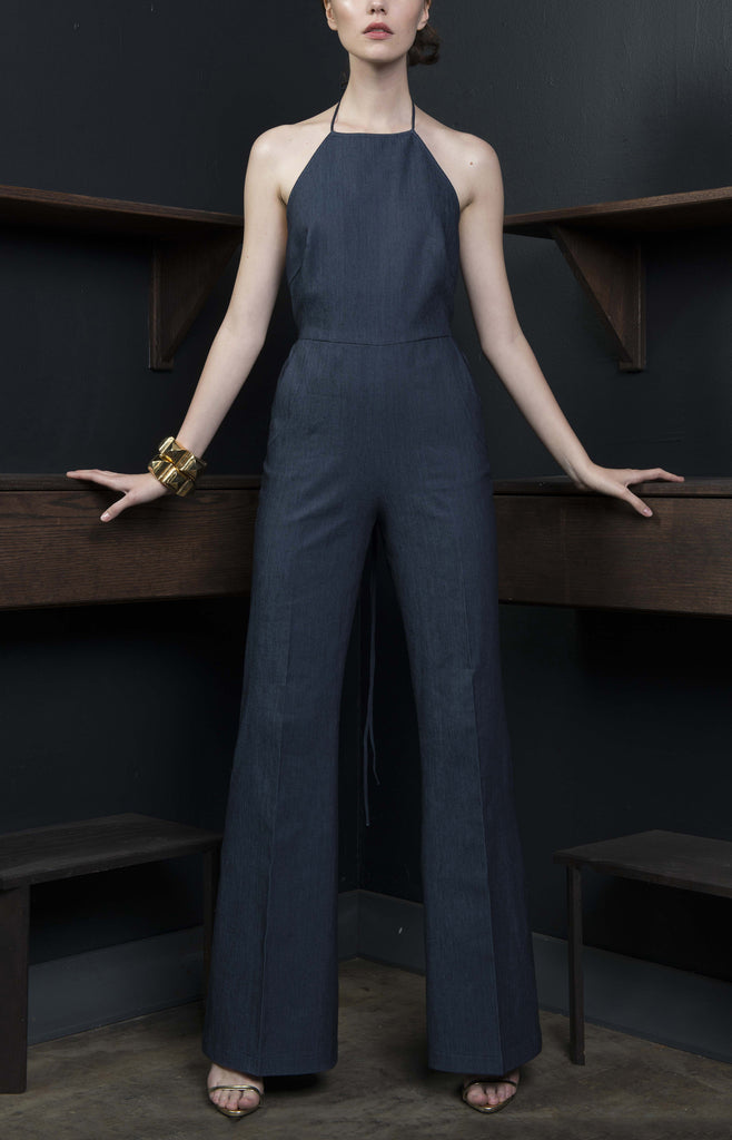 Wide Leg Denim Jump Suit