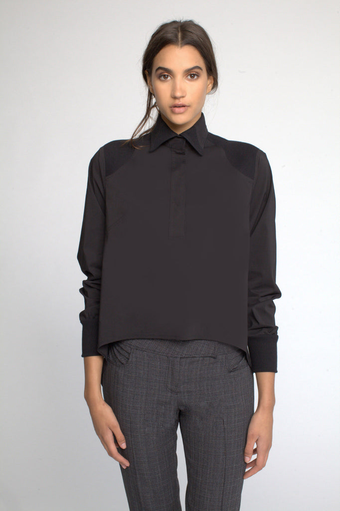 Split Back Shirt with Ribbed Detailing