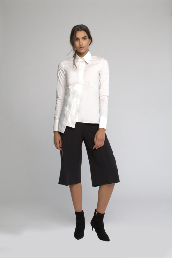 Asymmetrical white poplin blouse