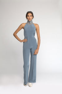 Sleeveless Turtleneck Low Back Jumpsuit