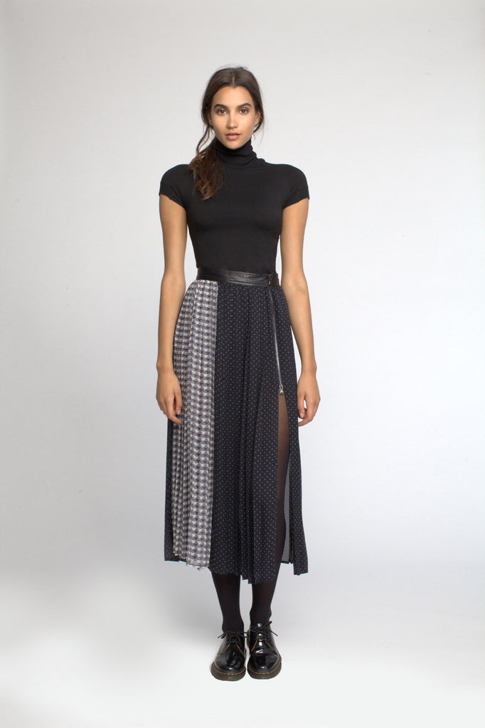 Long Pleated Skirt with Leather Waistband