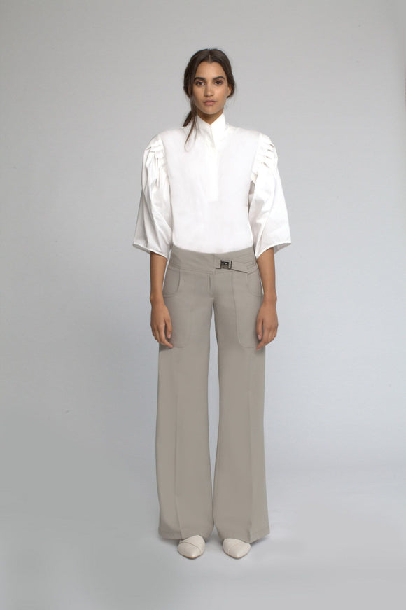 Wide Leg Pants with Buckle Closure