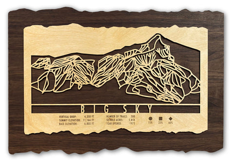 Gifts for Skiers - MountainCut Wood ski trail map