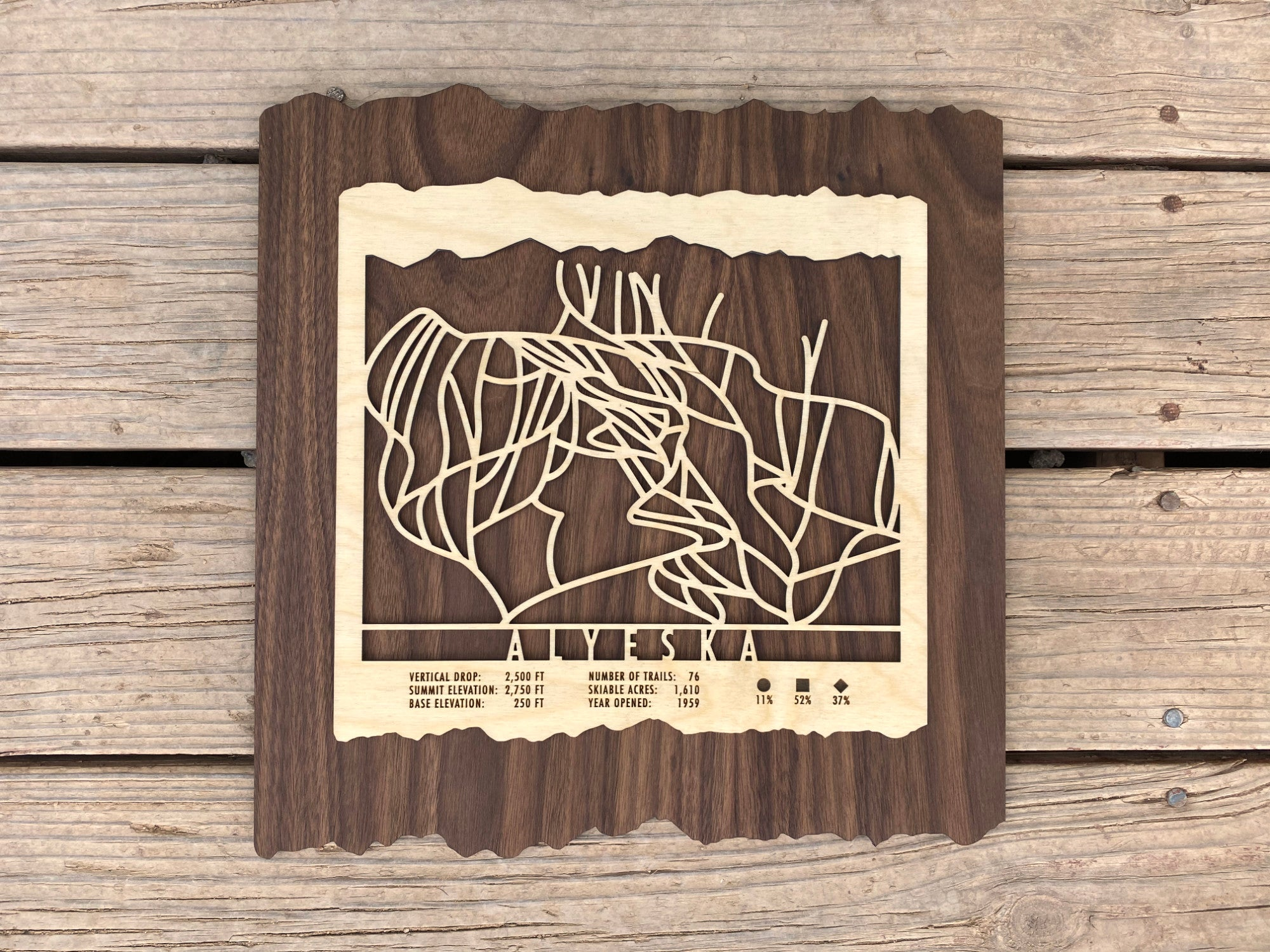 Alyeska Ski Decor Trail Map Art