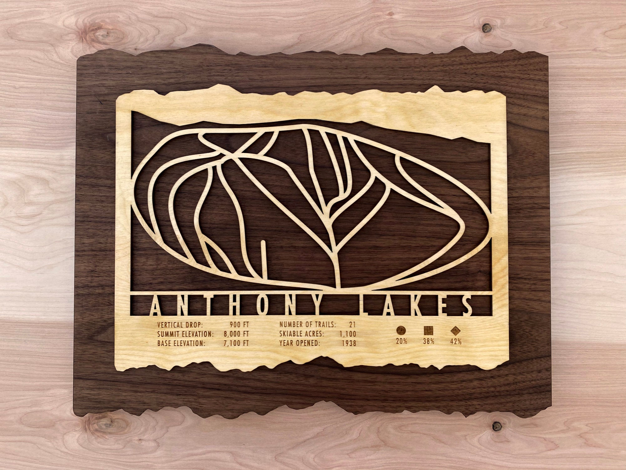 Anthony Lakes Ski Decor Trail Map Art