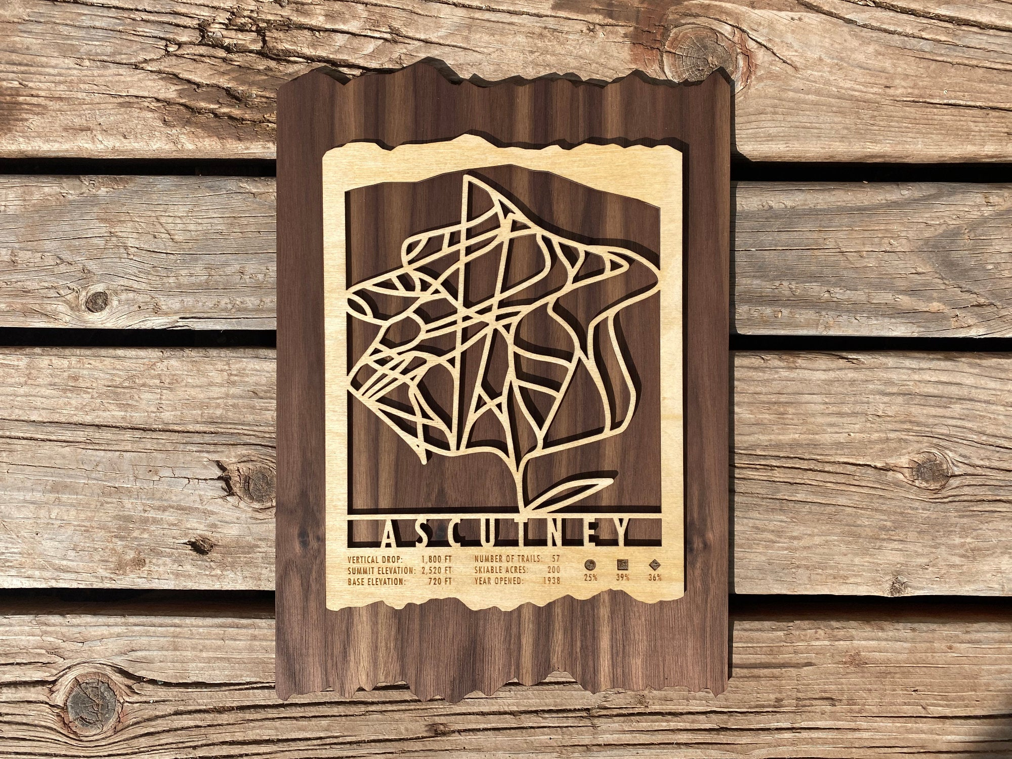 Ascutney Ski Decor Trail Map Art - MountainCut