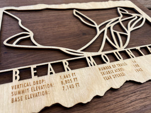 Bear Mountain Ski Decor Trail Map Art