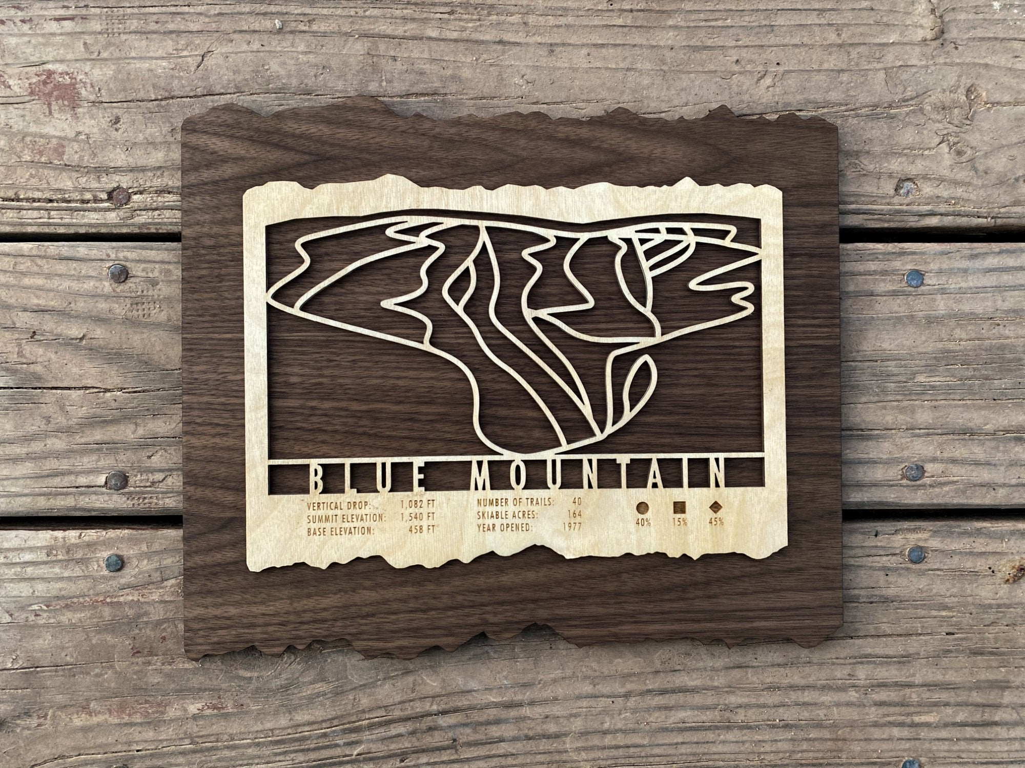 Blue Mountain Ski Decor Trail Map Art - MountainCut