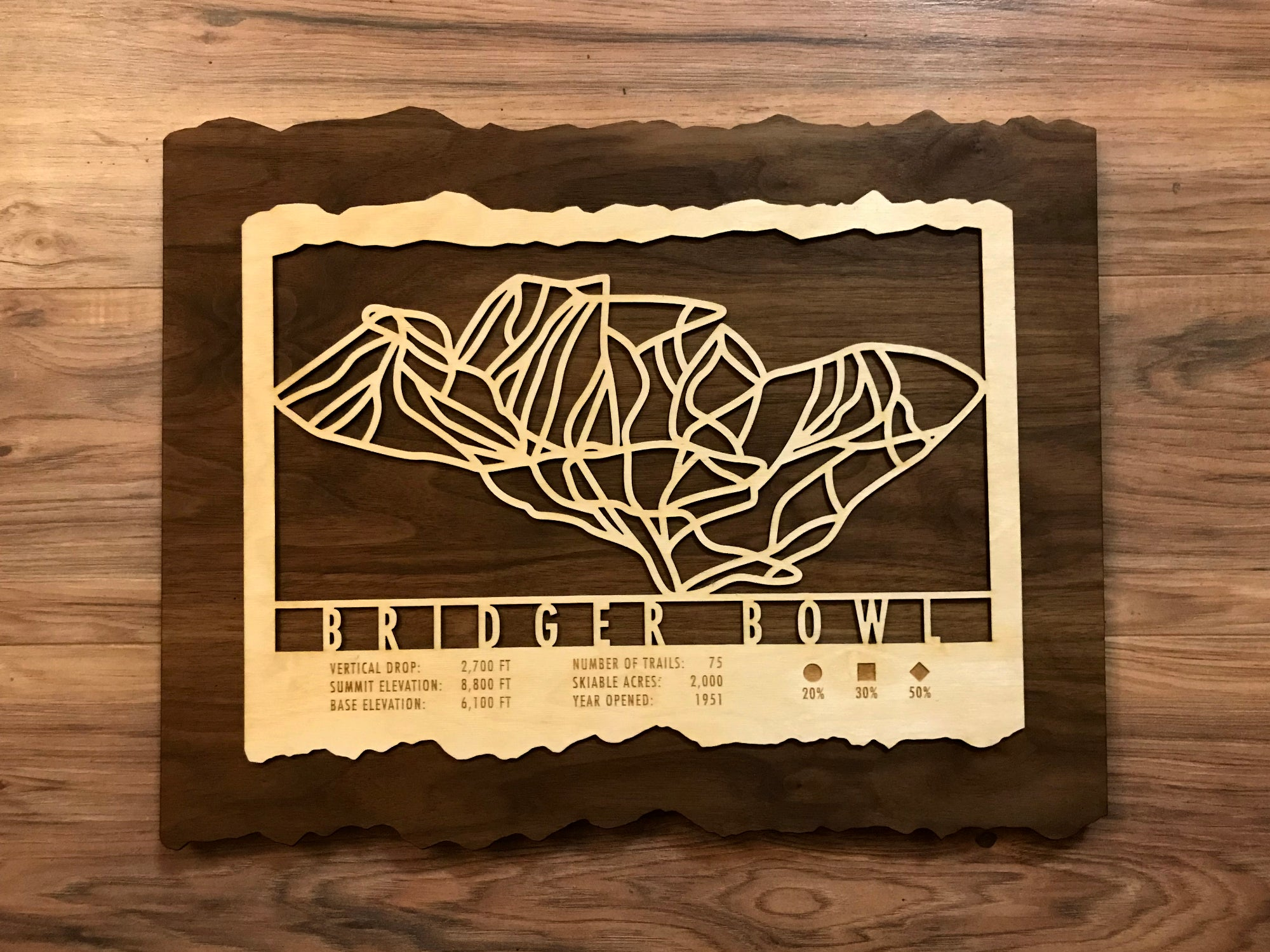Bridger Bowl Ski Decor Trail Map Art - MountainCut