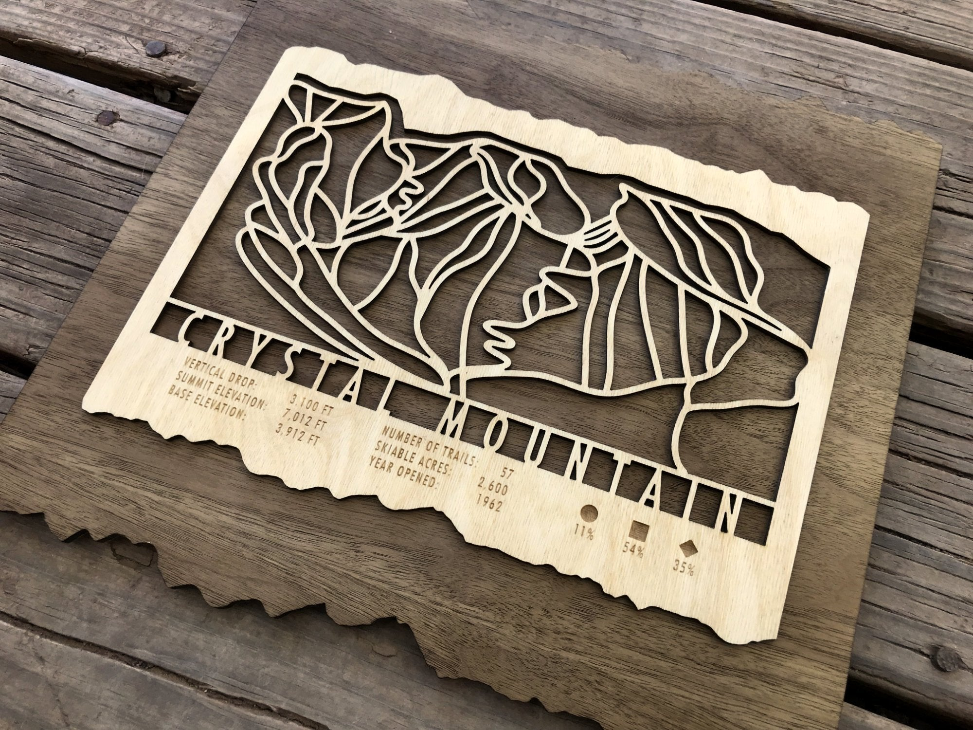 Crystal Mountain Ski Decor Trail Map Art - MountainCut