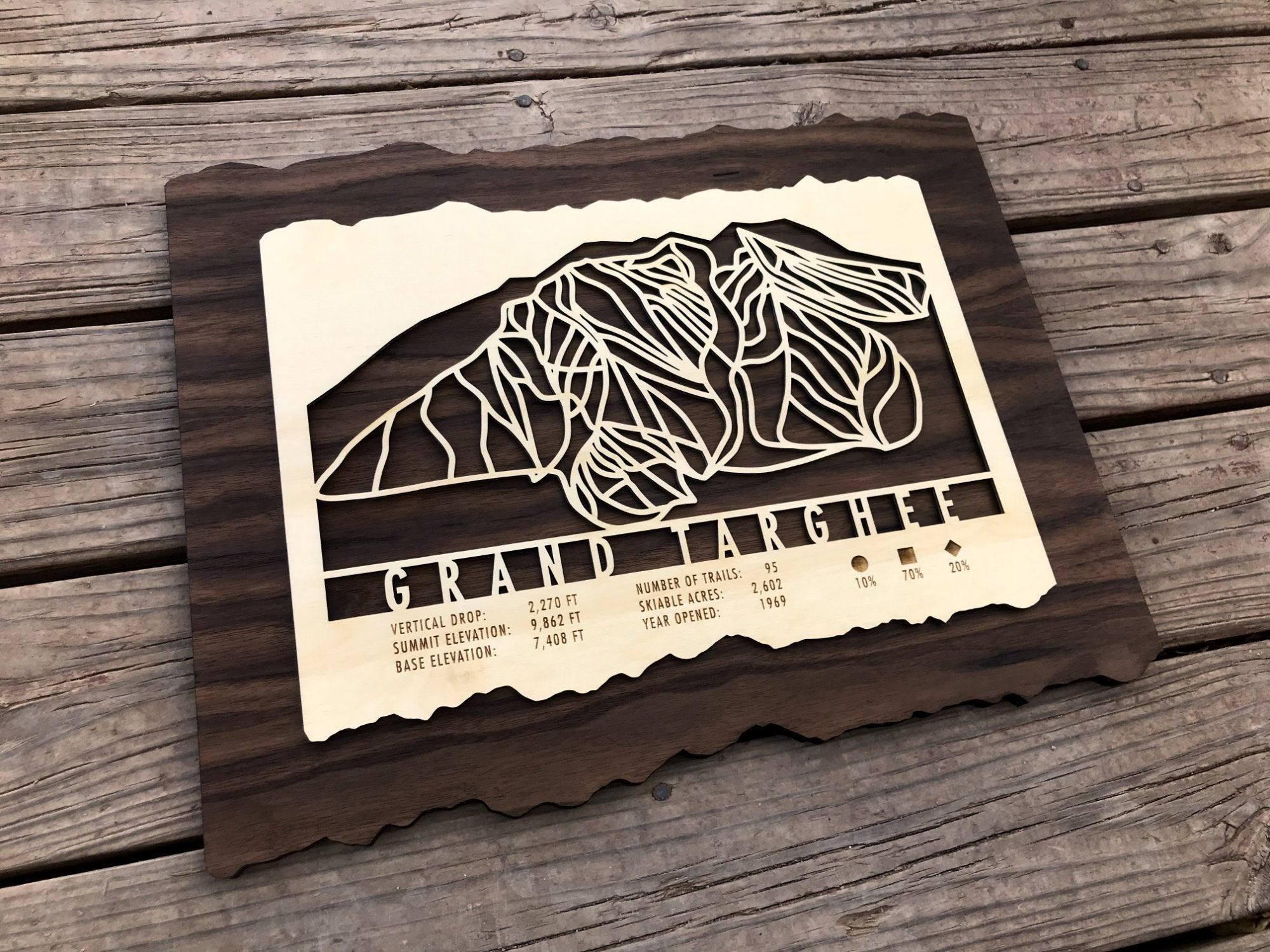Grand Targhee Ski Decor Trail Map Art - MountainCut