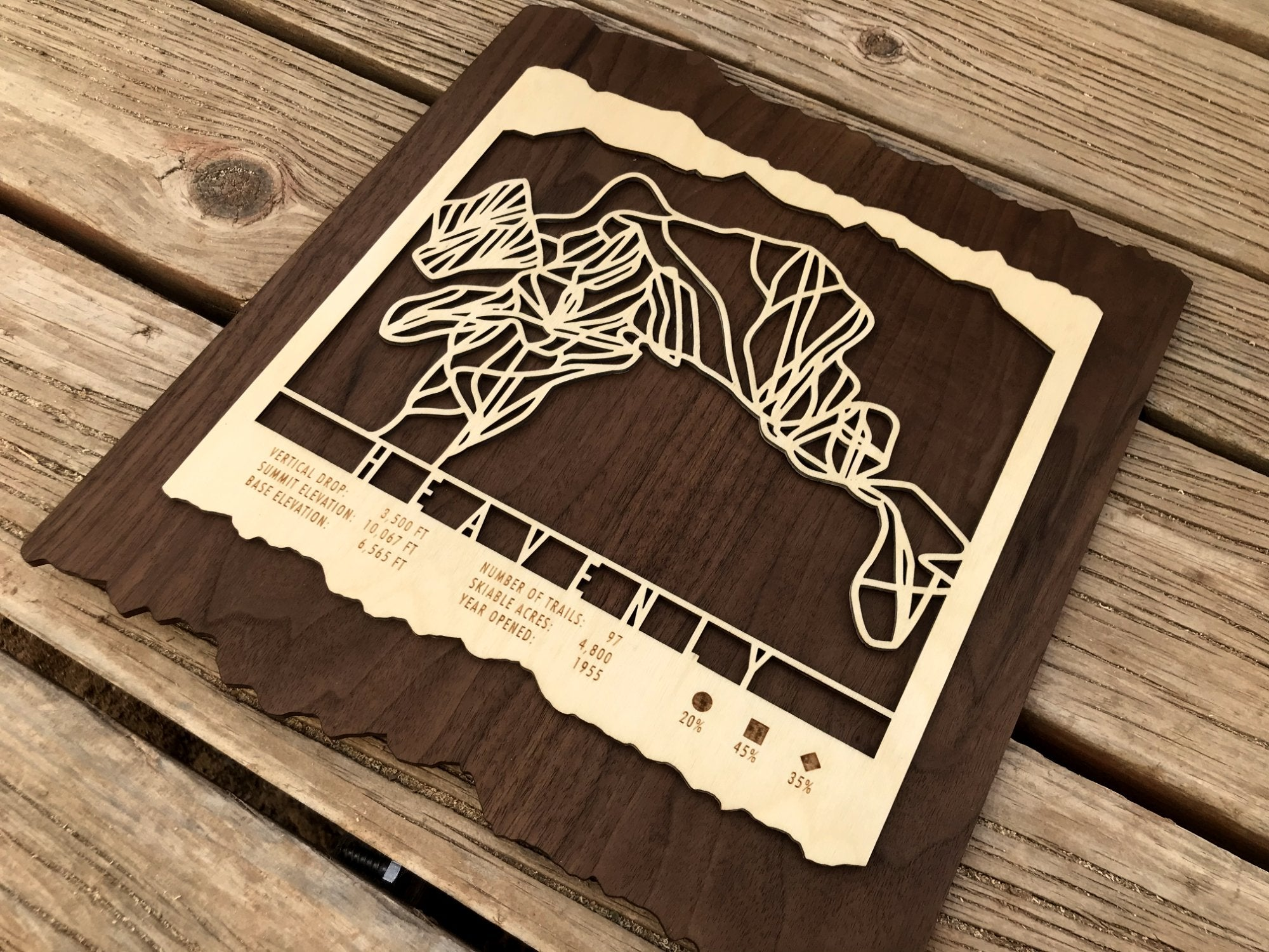 Heavenly Ski Decor Trail Map Art - MountainCut