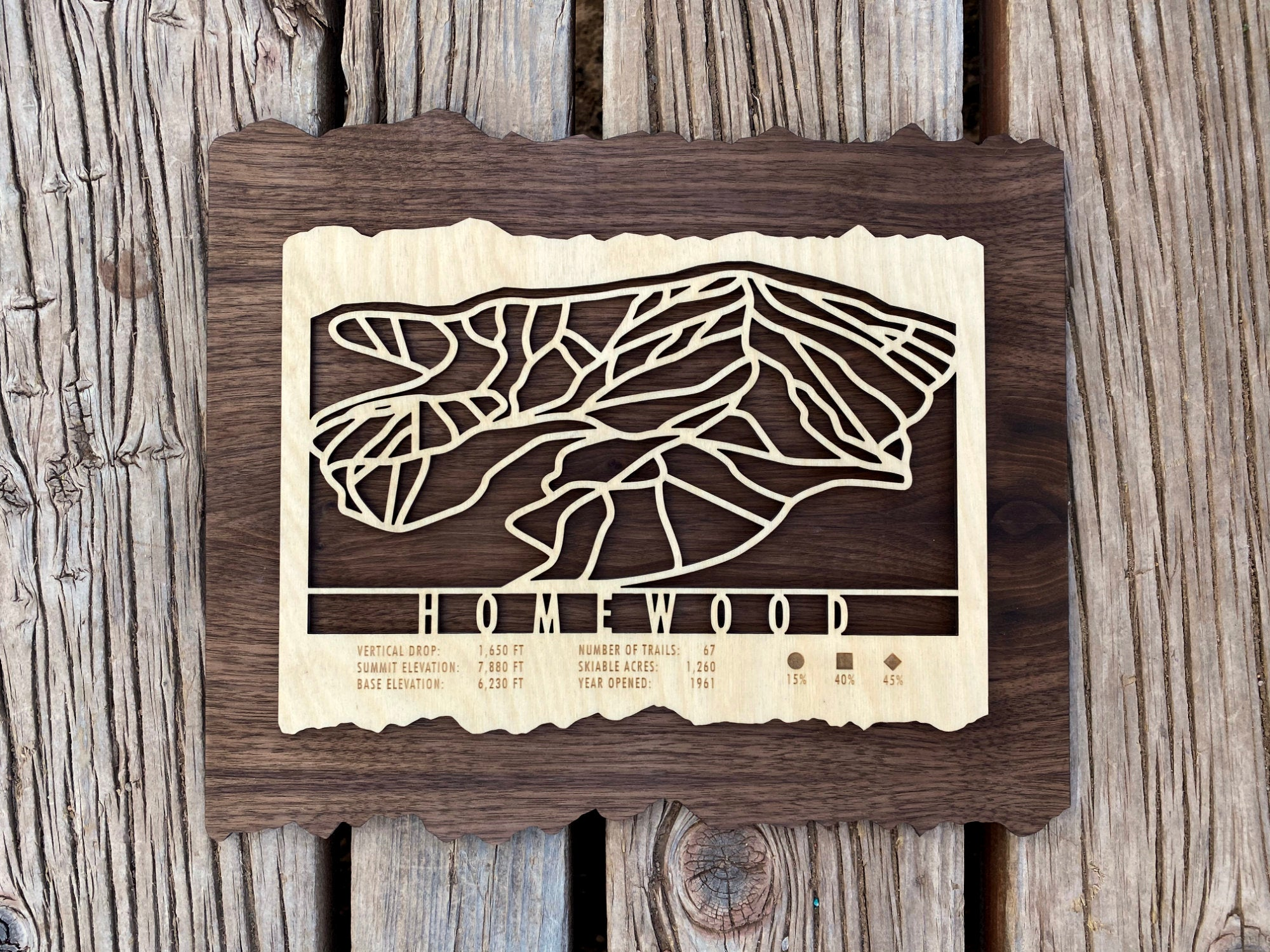 Homewood Ski Decor Trail Map Art
