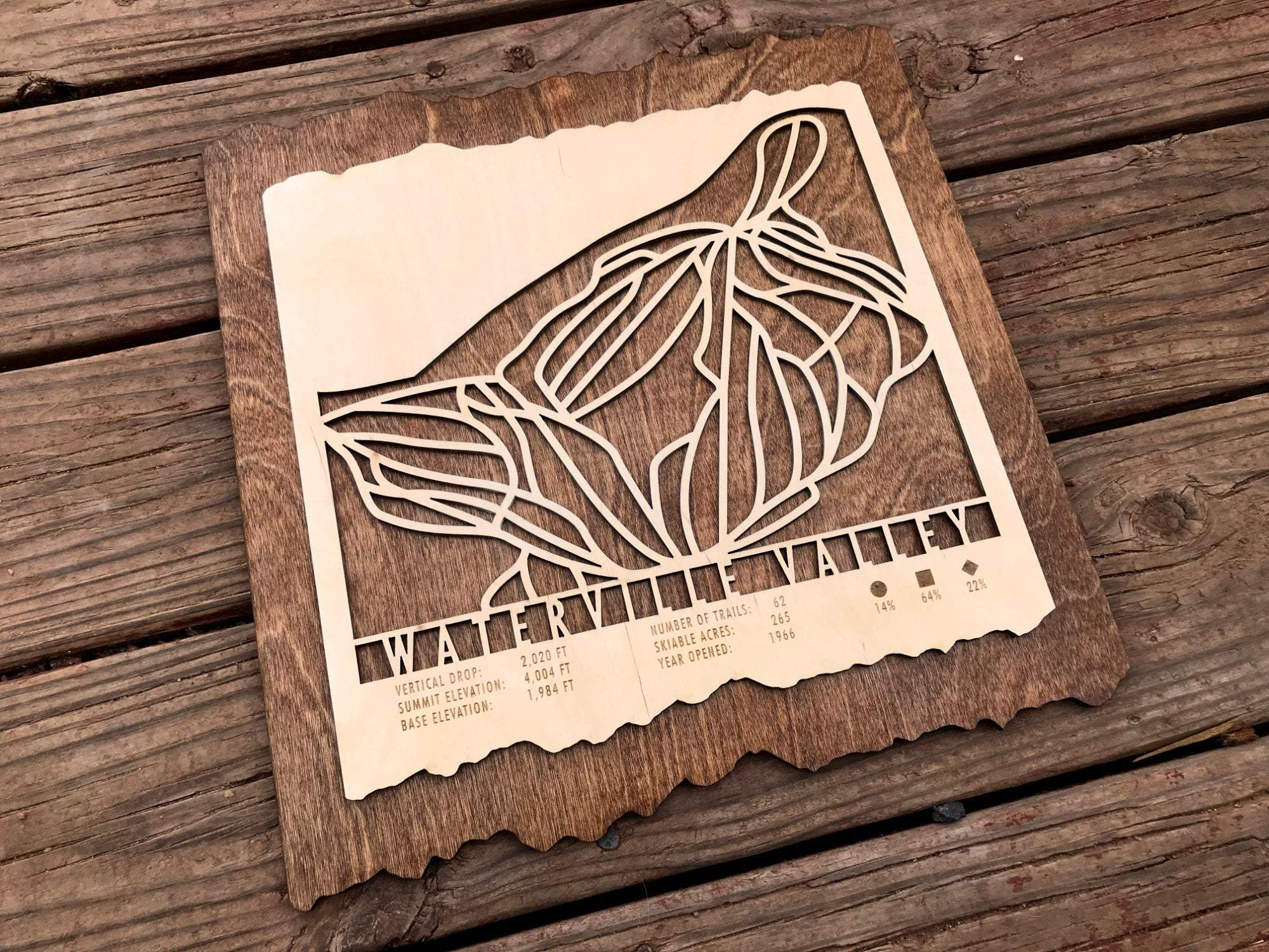 Waterville Valley Ski Decor Trail Map Art - MountainCut