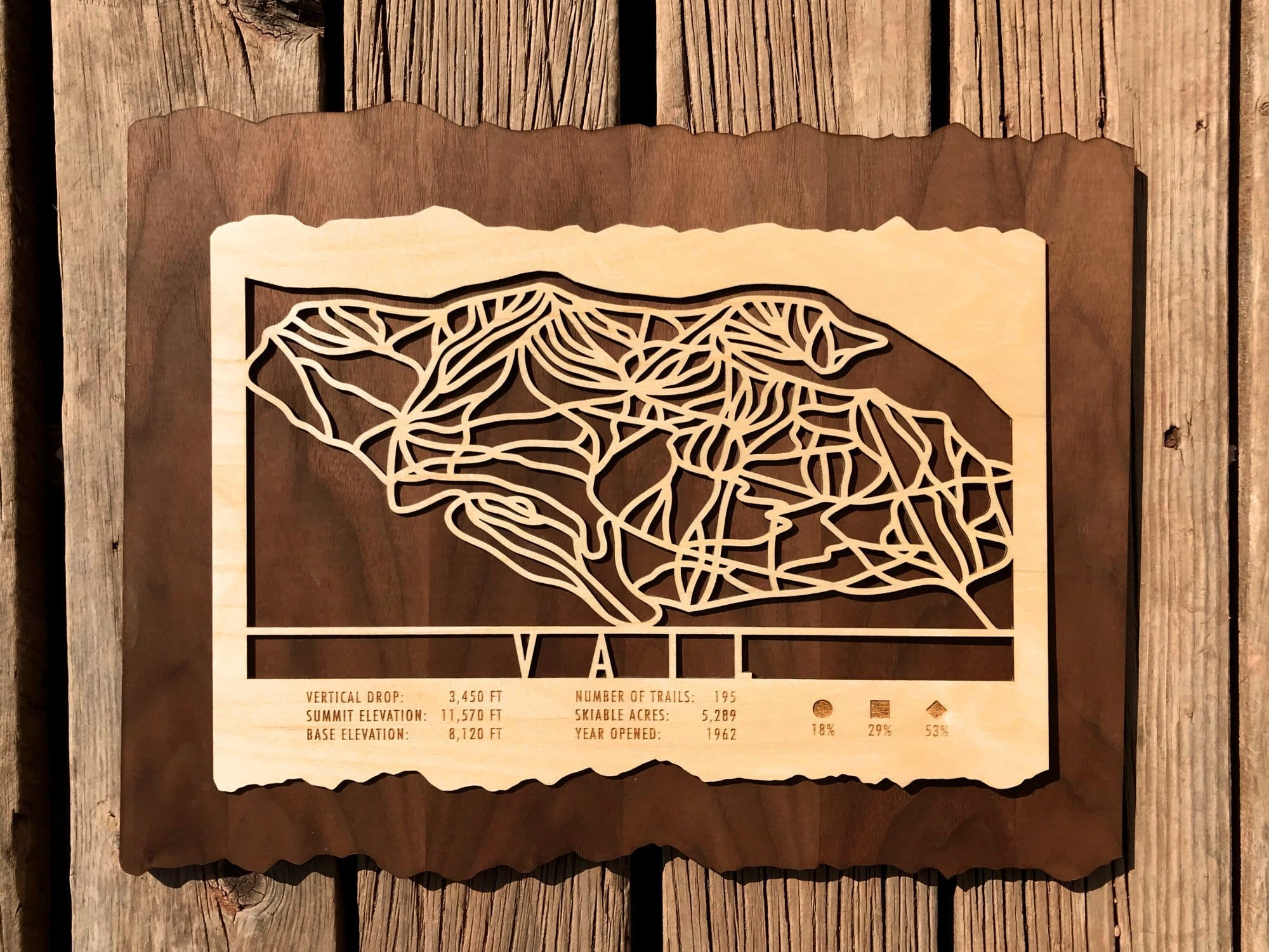 Vail Ski Decor Trail Map Art - MountainCut
