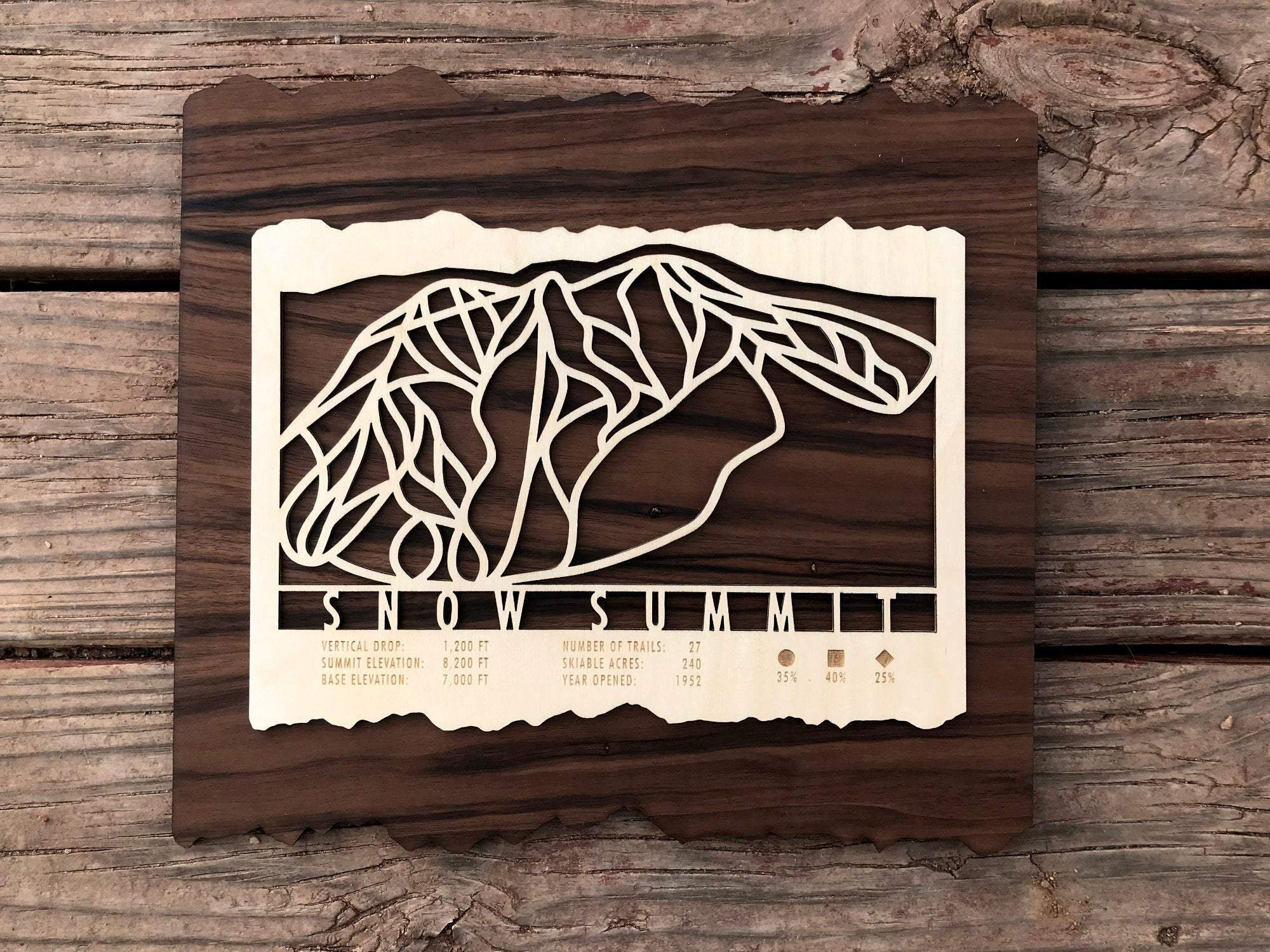 Snow Summit Ski Decor Trail Map Art - MountainCut