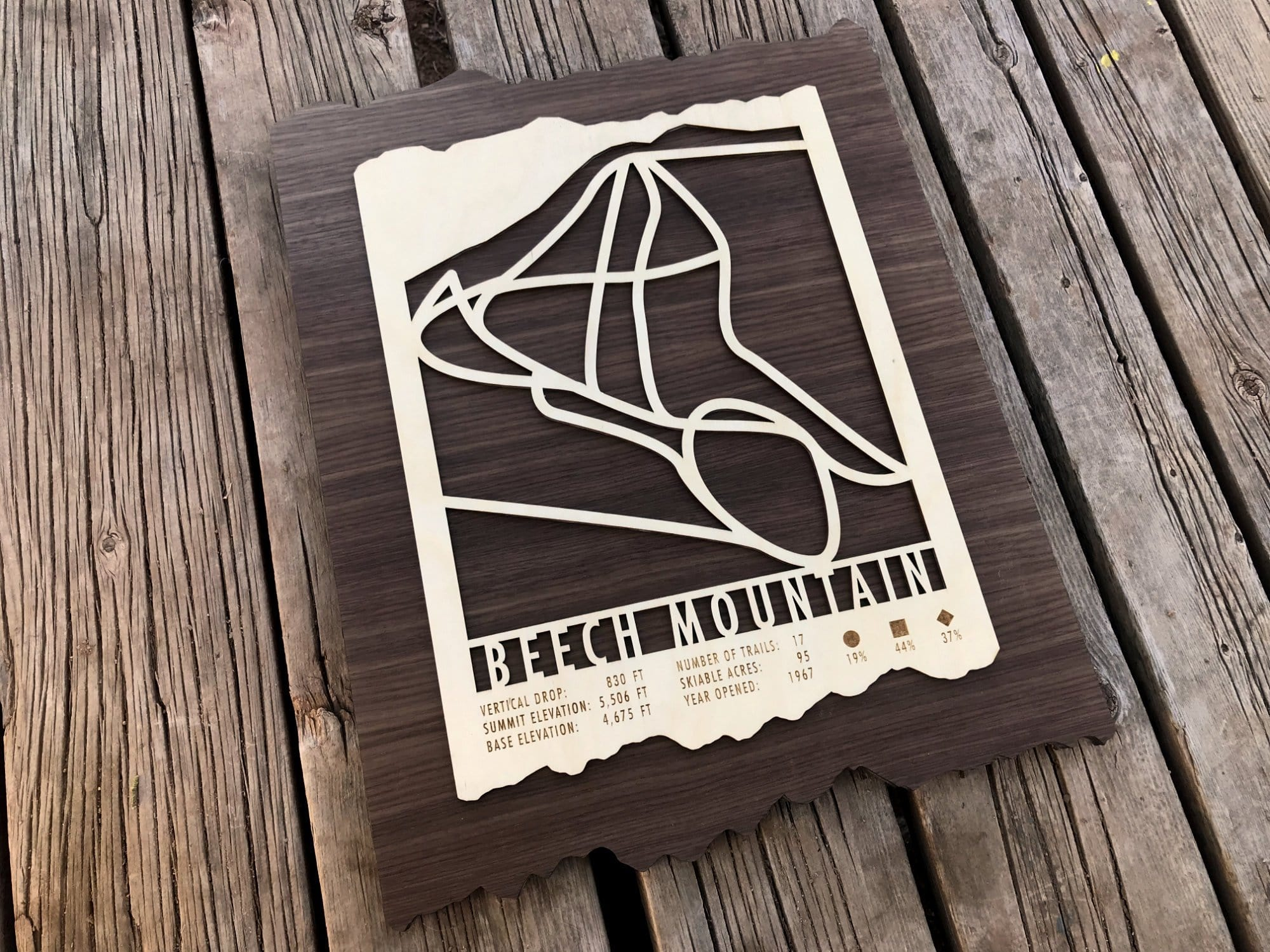 Beech Mountain Ski Decor Trail Map Art - MountainCut