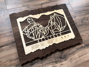 Attitash Ski Decor Trail Map Art - MountainCut