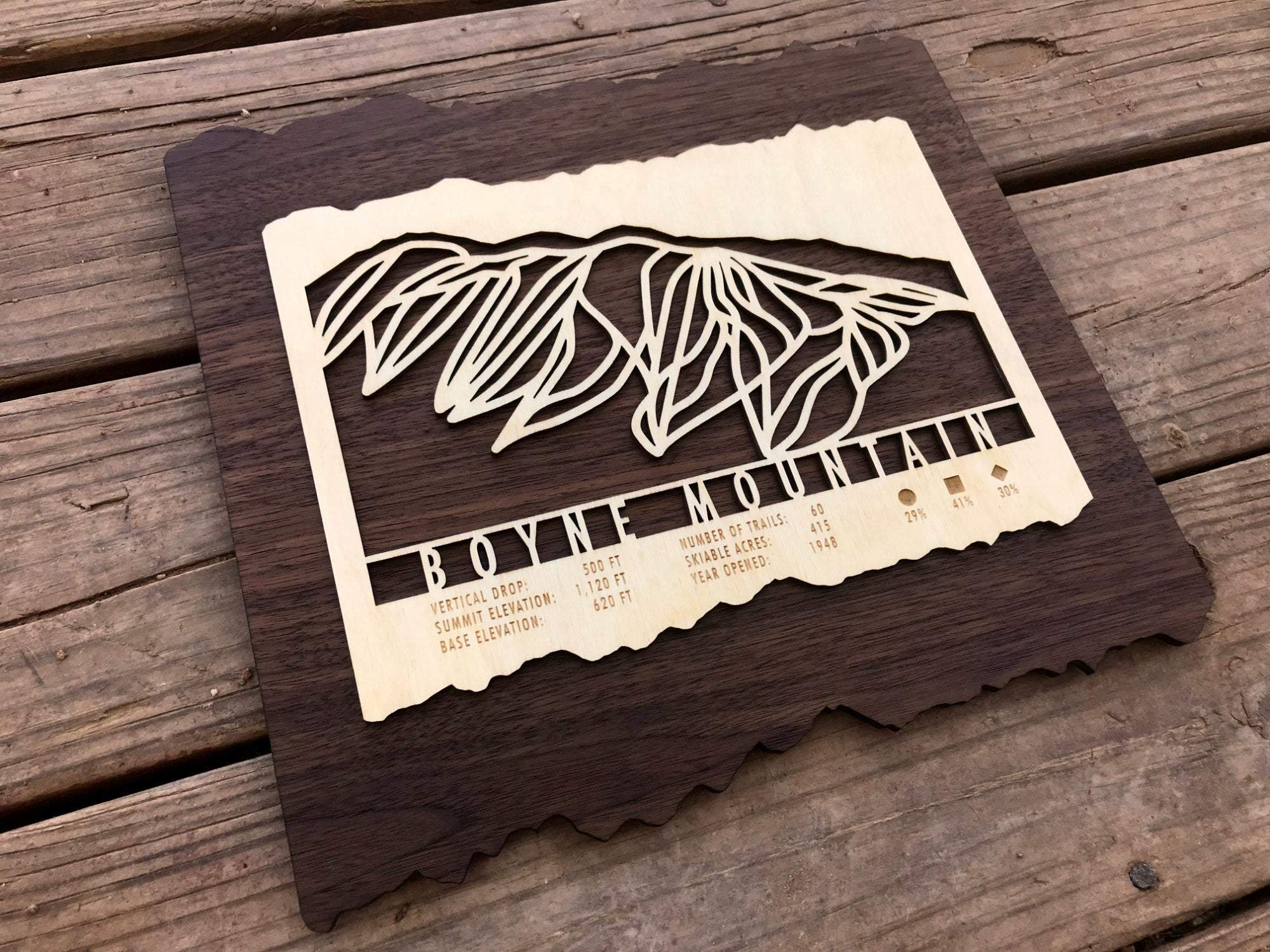 Boyne Ski Decor Trail Map Art - MountainCut