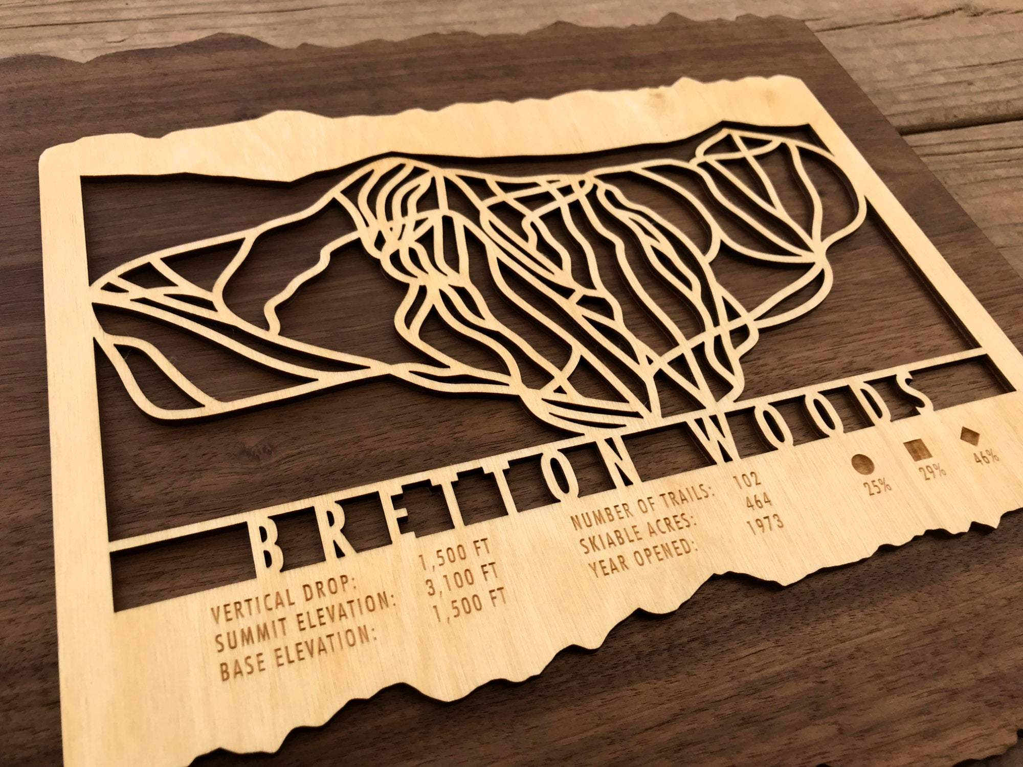 Bretton Woods Ski Decor Trail Map Art - MountainCut